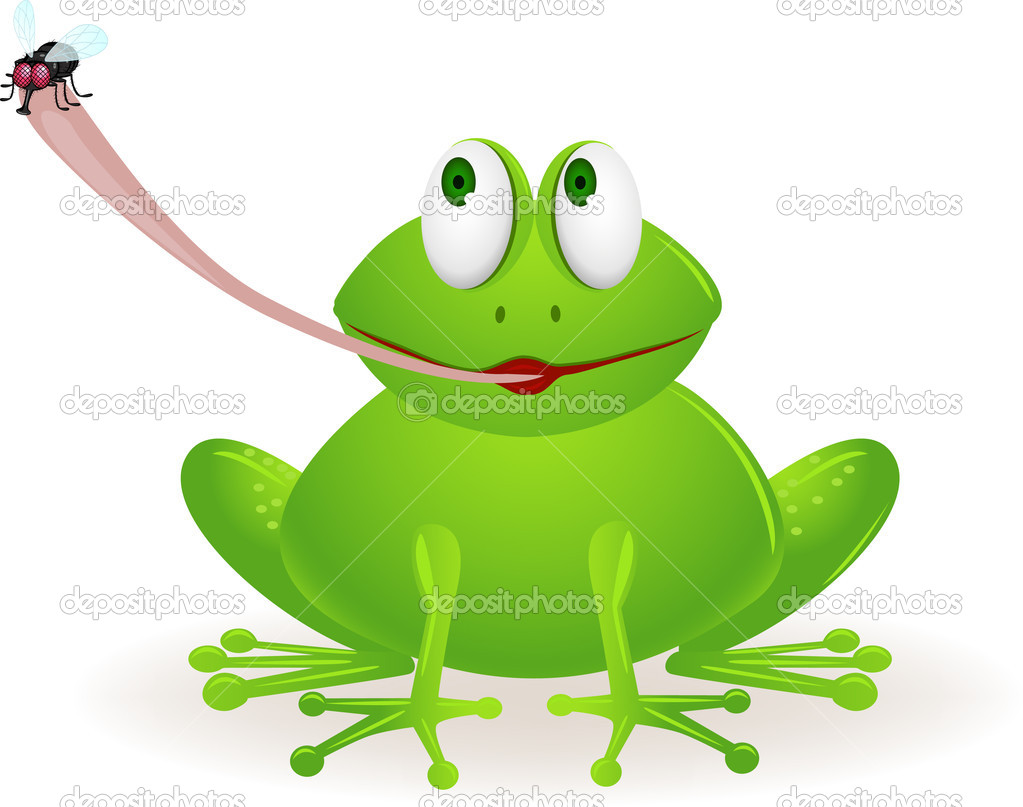 Cute frog cartoon catching fly stock illustration