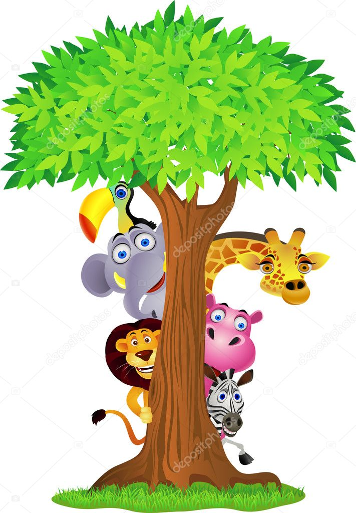 Animal cartoon hiding behind tree — Stock Vector #5861096