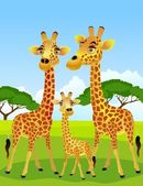 Giraffe family — Stock Vector