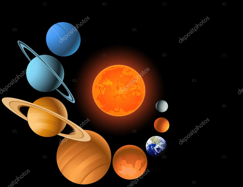 Vector illustration of solar system  Stock Vector #6082573