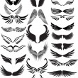 Wings silhouette collection - Stock Vector