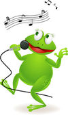 Frog singing — Stock Vector
