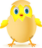 Funny chicken in egg — Stock Vector