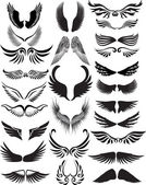 Wings silhouette collection — Stock Vector