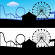 Stock Vector: Carnival scene with roller coaster and giant wheel