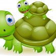 Stock Vector: Mother and baby turtle