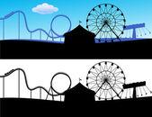 Scène de carnaval avec roller coaster et roue géante — Vecteur