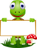 Cute turtle holding blank signboard — Stock Vector