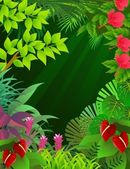 Illustration of tropical forest background — Stock Vector