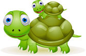Mother and baby turtle — Stock Vector