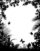 Fondo de silueta de bosque tropical — Vector de stock
