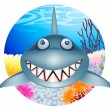 Shark cartoon character — Stock Vector