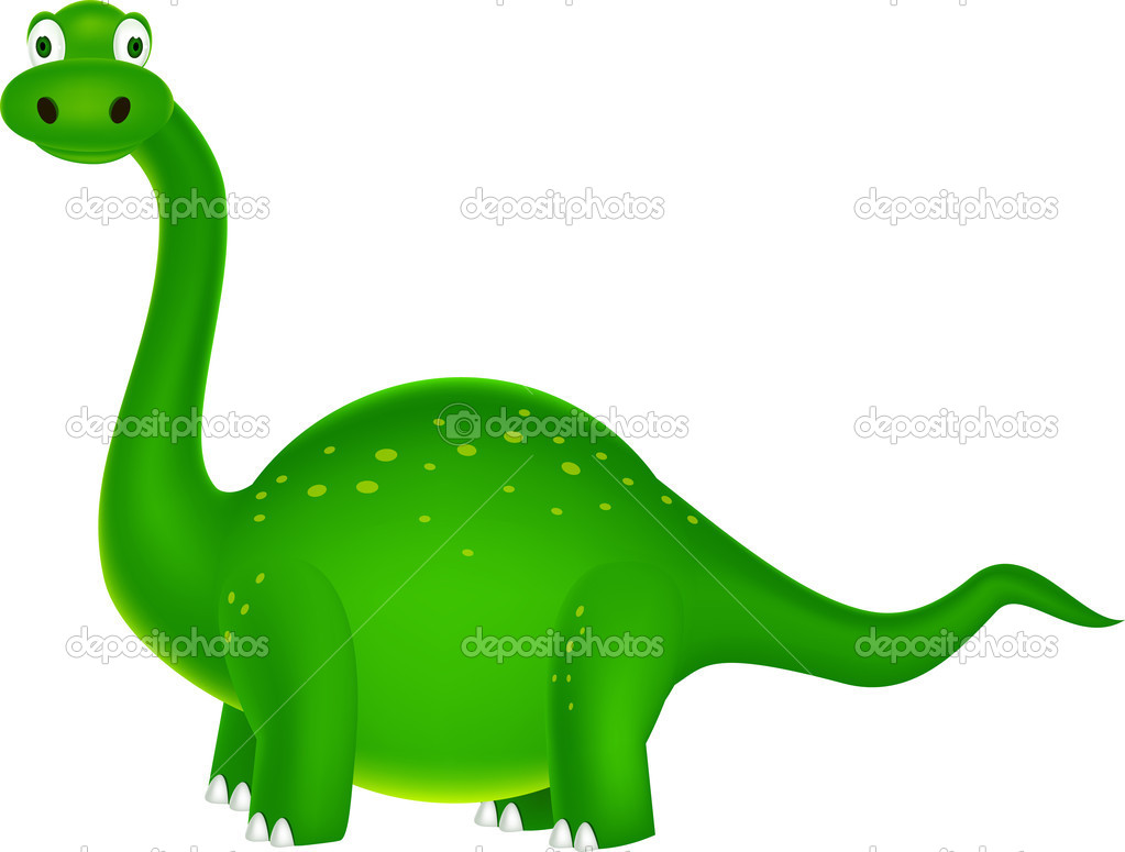 Vector illustration of green dinosaur cartoon — Stock Vector #6380808
