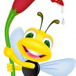 Happy bee holding a flower — Stock Vector