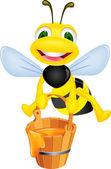 Bee with honey — Stock Vector