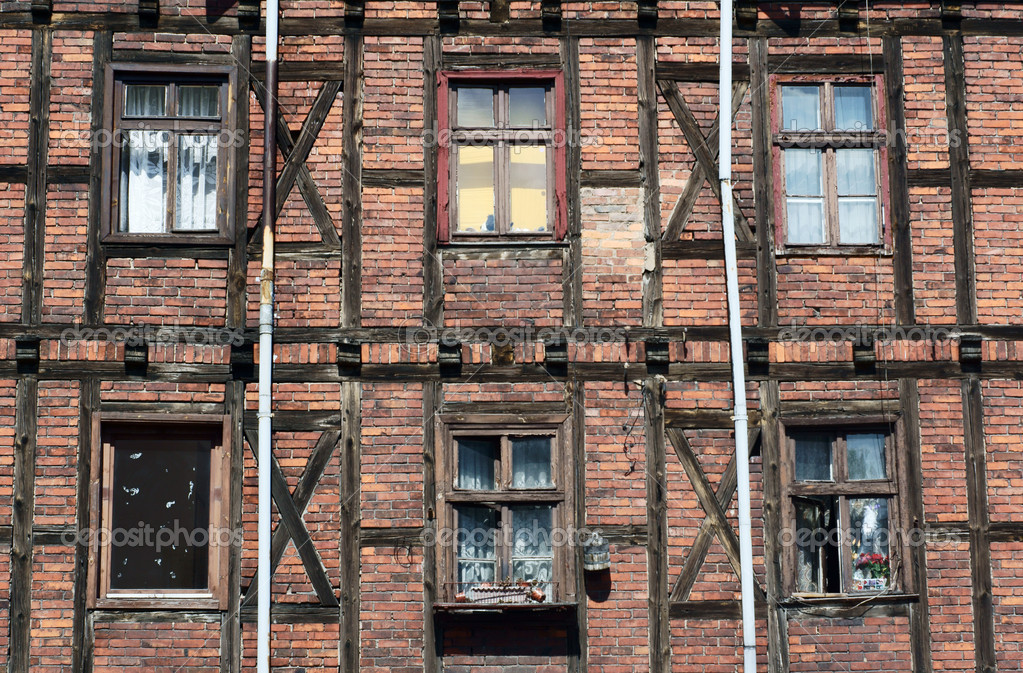 Half-timbered wall with window, Poland, Poznan — Stock Photo #5687549