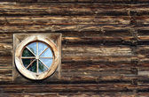 Window in wooden church — Stock Photo