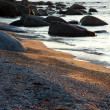 Sunset at a rocky shore in Sweden — Stock Photo
