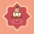 Illustration of cute retro wedding cake card — Stock Photo