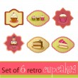 Set of illustrated cute retro cupcake cards — Stock Photo #5459800