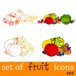 Cute fruit and vegetable icons - Stock Photo