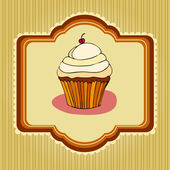Illustration of cute retro cupcakes card — Stock Photo