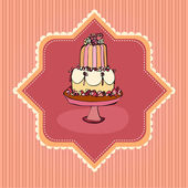 Illustration of cute retro wedding cake card — Stock Photo