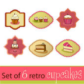 Set of illustrated cute retro cupcake cards — Stock Photo