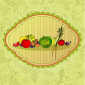 Retro background with illustrated fruits and vegetables — Stock Photo