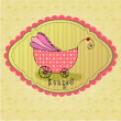 Cute illustrated doodle Baby arrival card — Stock Photo