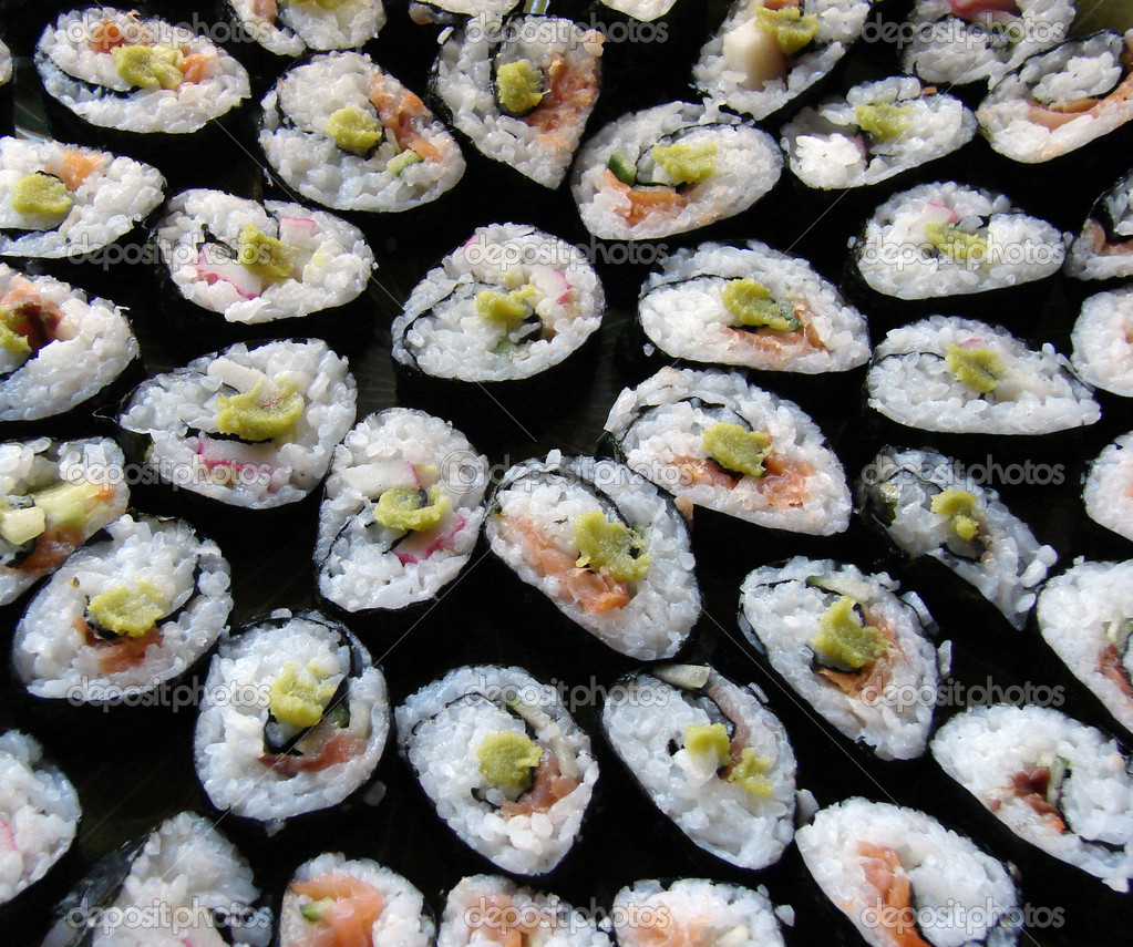 Japanese traditional cuisine - sushi rolls - stock image