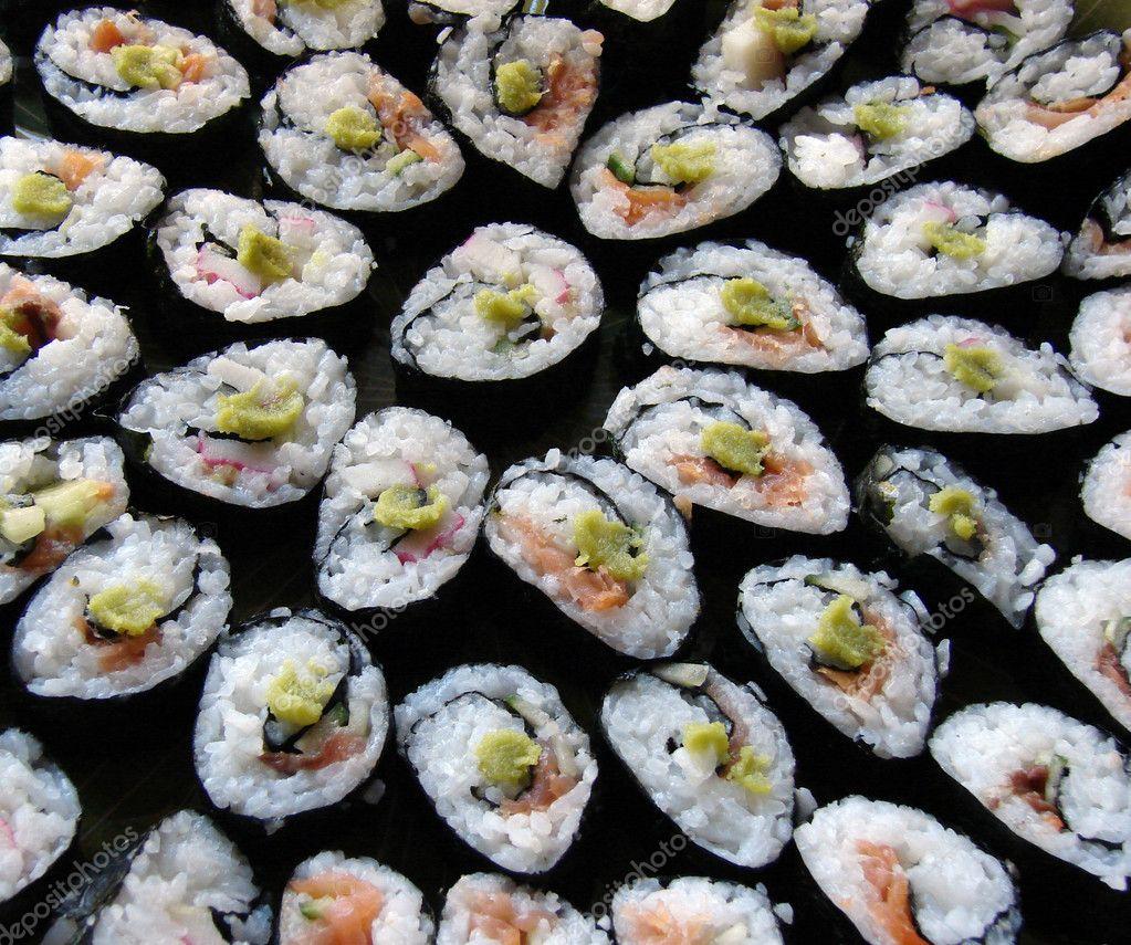 Japanese traditional cuisine - sushi rolls - stock image