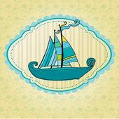 かわいい船で夏イラスト背景を落書き — ストック写真