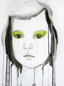 Illustrated portrait of beautiful girl | watercolor — Stok fotoğraf