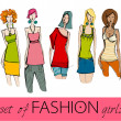 Set of illustrated elegant stylized fashion models — Stock Photo #5884015