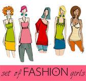 Set of illustrated elegant stylized fashion models — Stock Photo