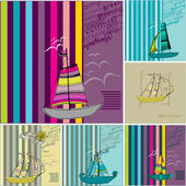 Set of greeting card designs with illustrated cute sailing boats — Fotografia Stock