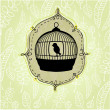 Elegant nature background with birdcage — Stock Photo