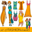 Set of illustrated elegant stylized fashion models — Stock Photo #5988036