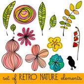 Set of illustrated abstract retro nature elements — Stock Photo