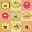 Stock Photo: Set of illustrated cute retro cake cards