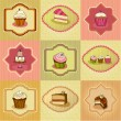 Set of illustrated cute retro cake cards — Stock Photo #6000395