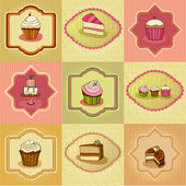 Set of illustrated cute retro cake cards — Stock Photo