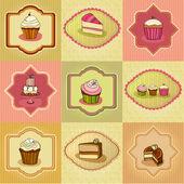 Set of illustrated cute retro cake cards — Stock Photo