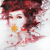 Illustrated portrait of beautiful girl | watercolor — Stock Photo