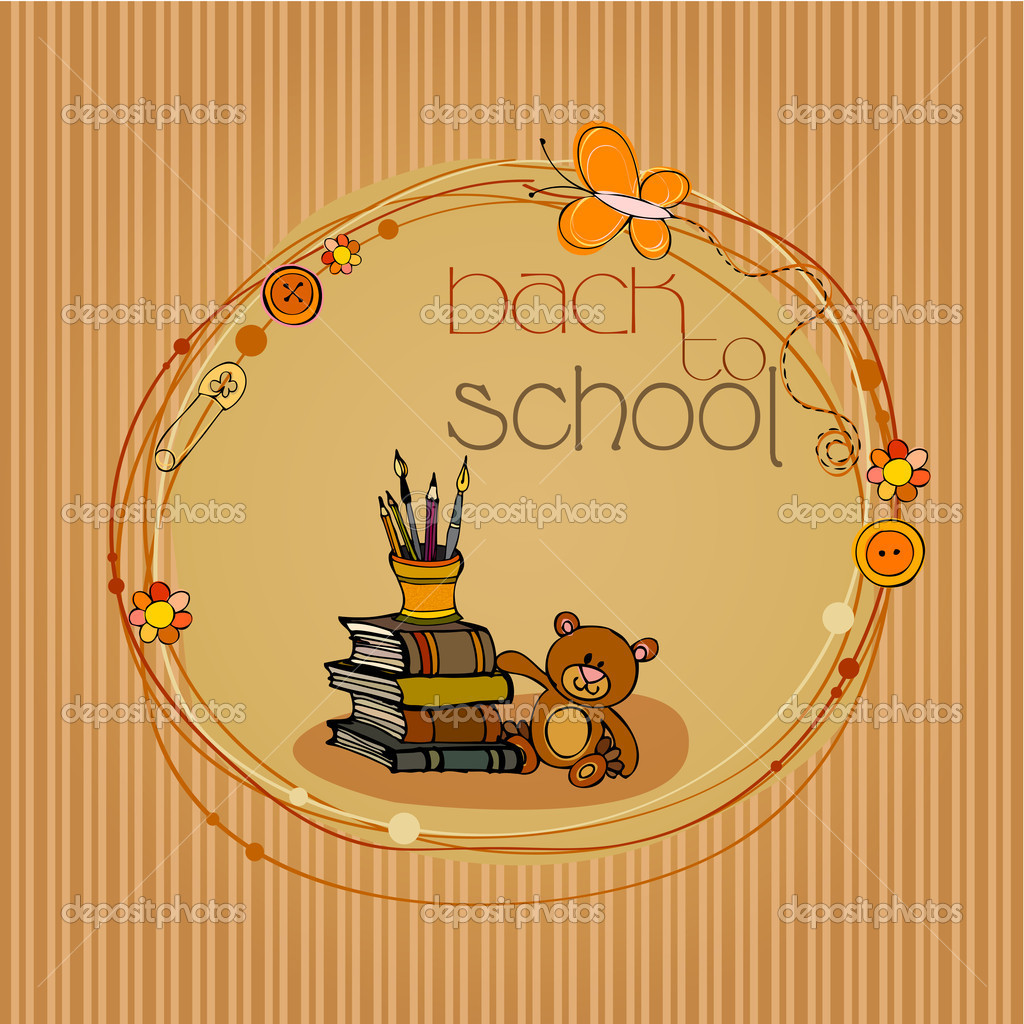 Illustrated back to school background with books and teddy bear   Stock Photo #6292212