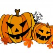Illustrated cute Halloween pumpkins - Stock Photo