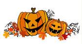 Illustrated cute Halloween pumpkins — Stock Photo