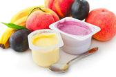 Fruit yogurts — Stock Photo