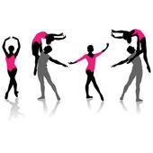 Ballet silhouette collection.Vector — Stock Vector